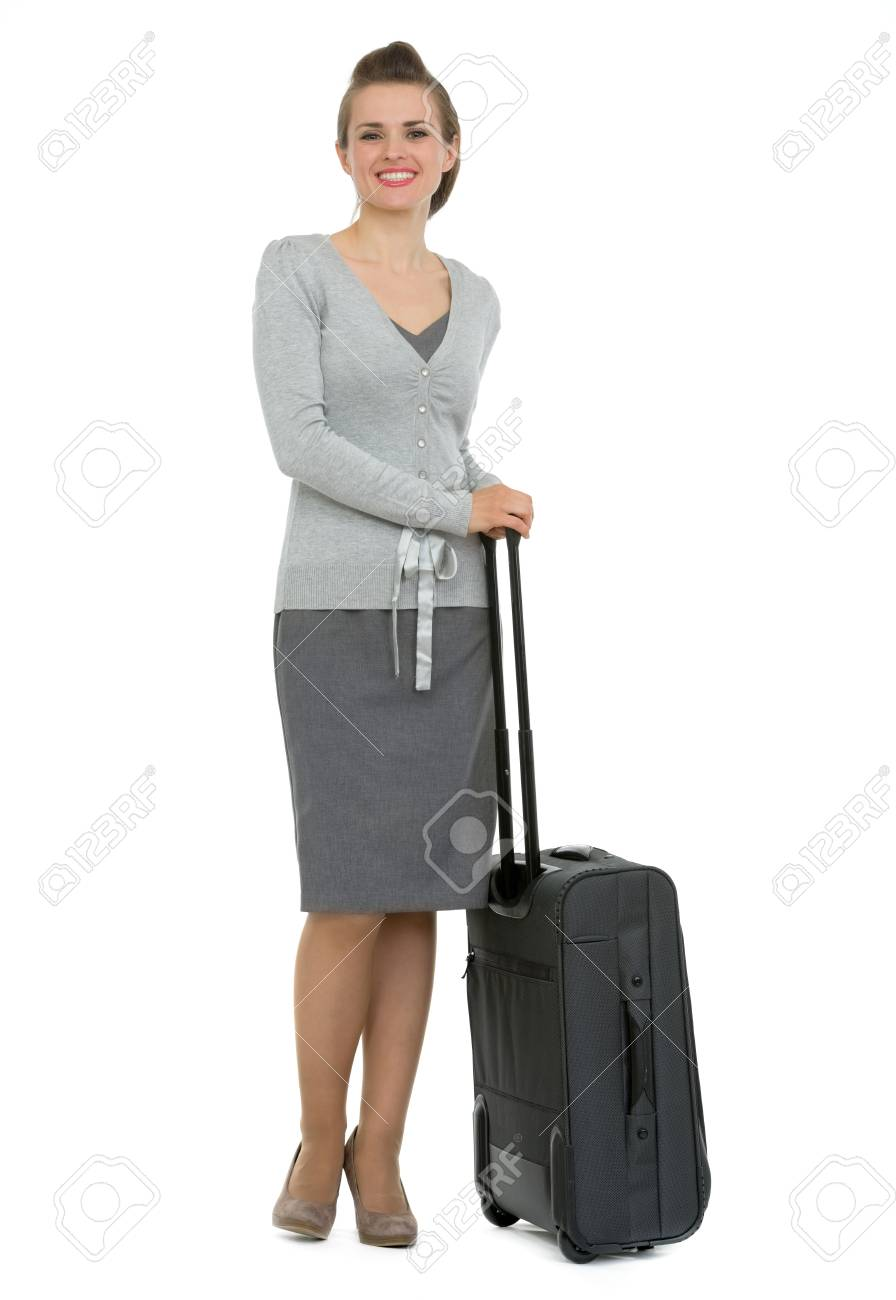 Full length portrait of traveling woman with suitcase Stock Photo - 13611548