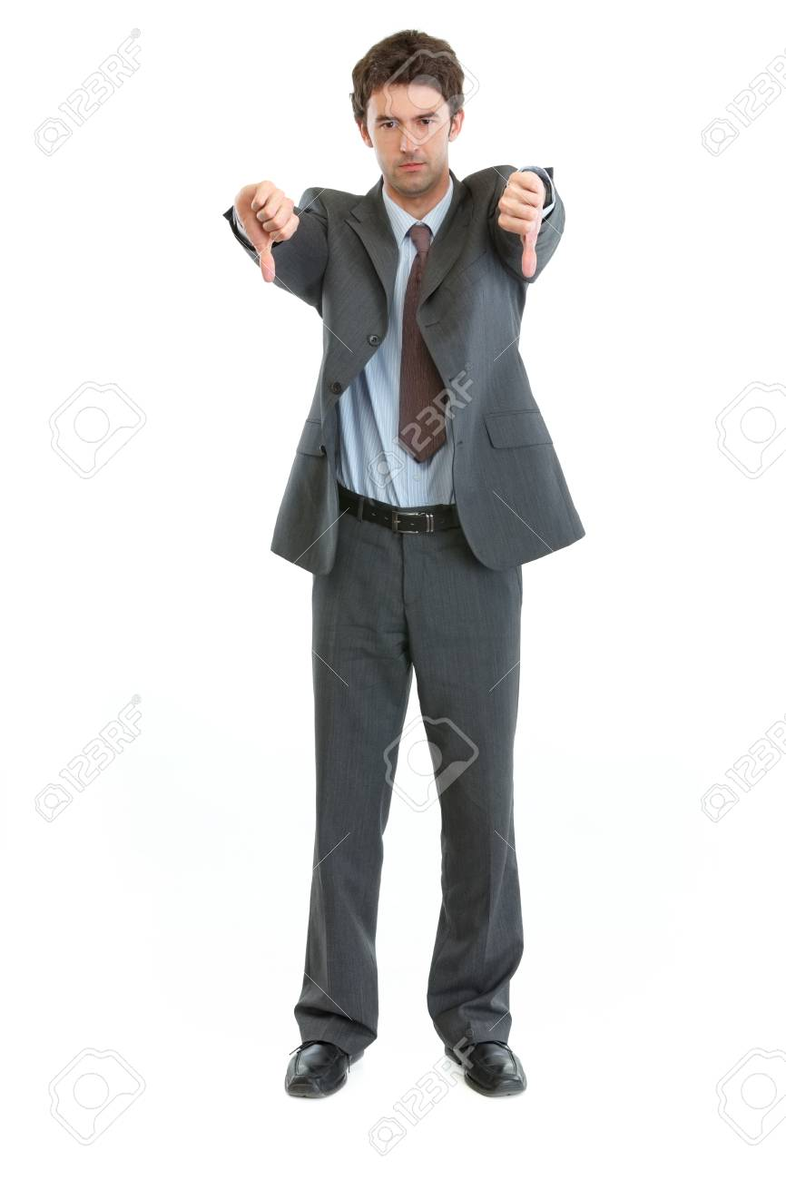 Full length portrait of businessman showing thumbs down Stock Photo - 13701944