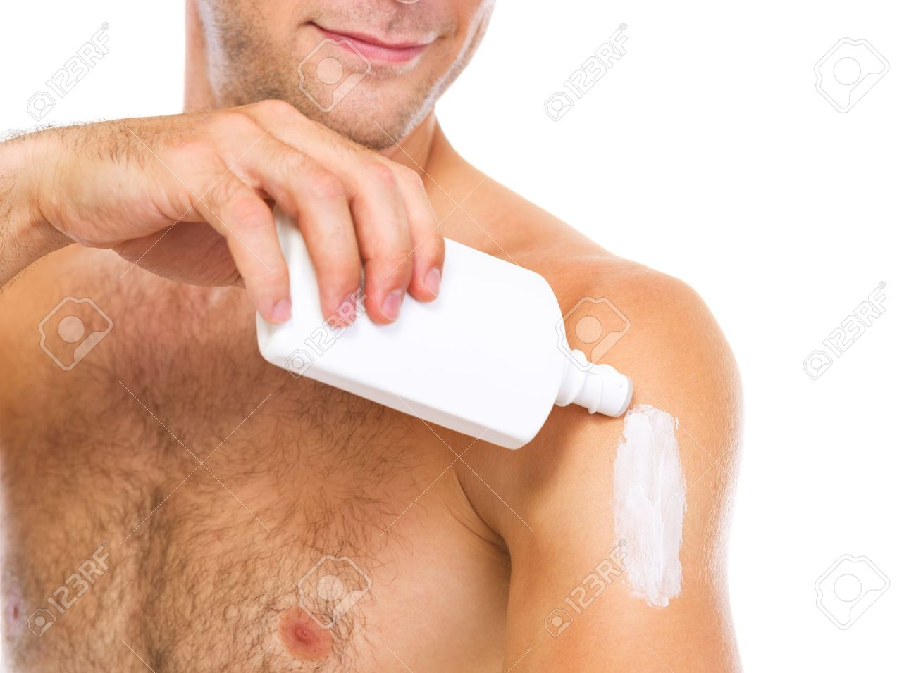 Image result for images of men putting body cream on their body