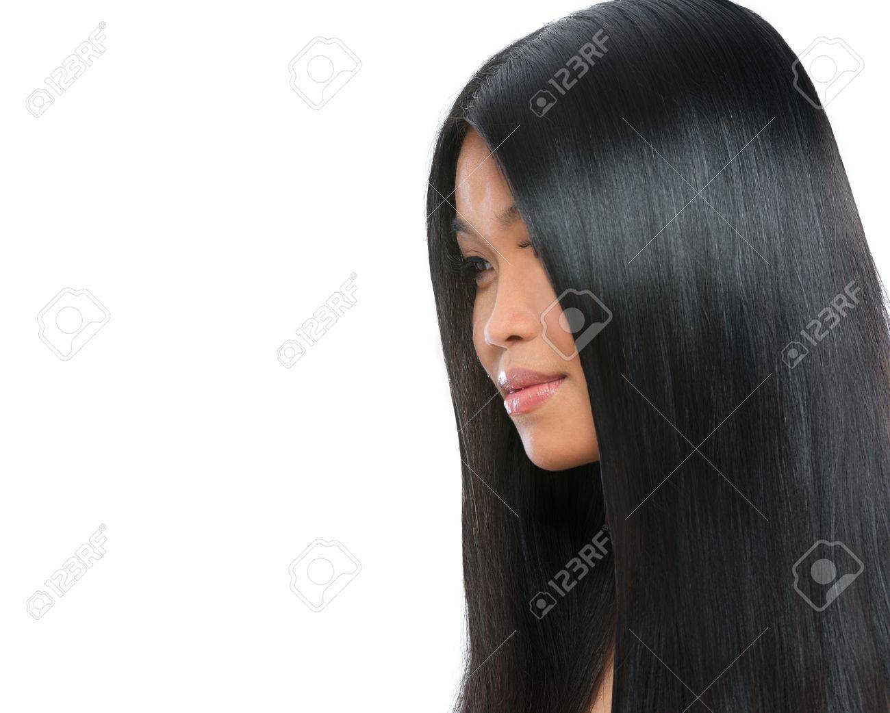 Beauty portrait of asian brunette woman healthy long straight hair isolated on white Stock Photo - 14596567