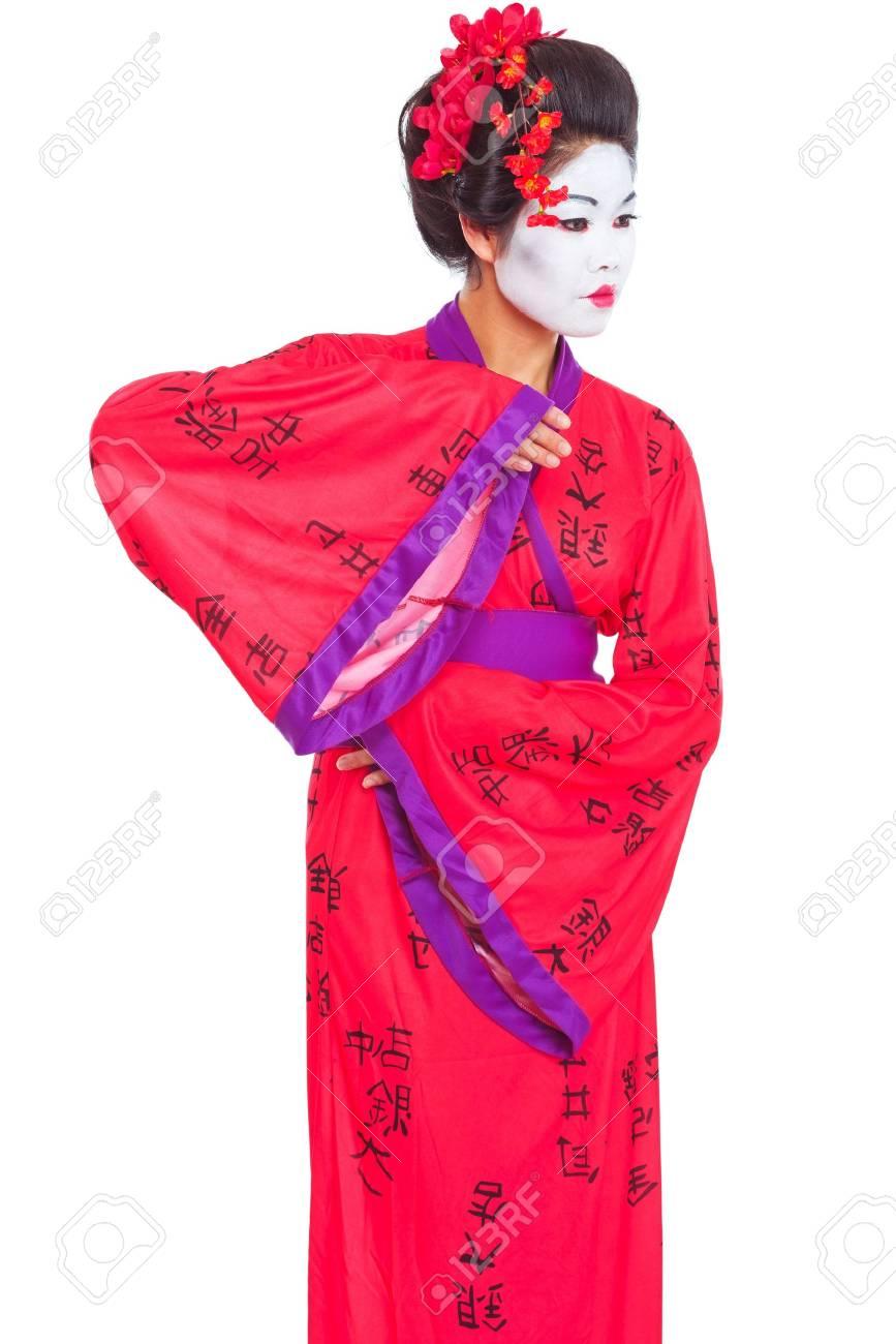 Portrait of geisha dancing isolated on white Stock Photo - 14596576