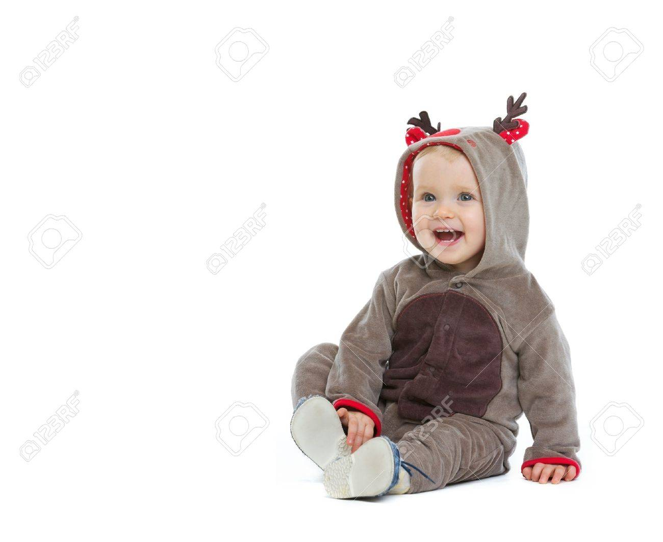 Smiling baby in Christmas costume looking on copy space Stock Photo - 14768008