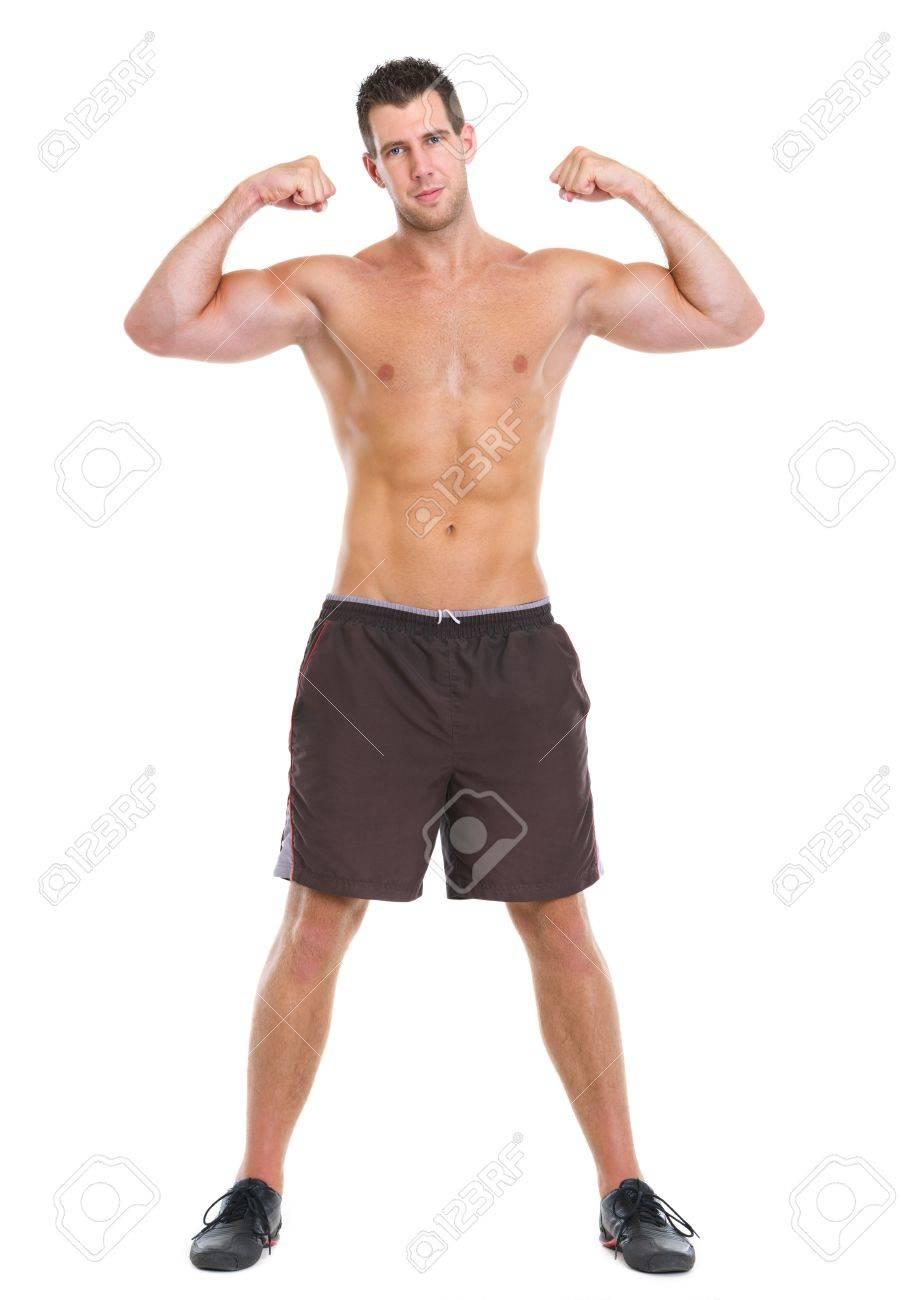 オスの運動選手は筋肉の体を表示...