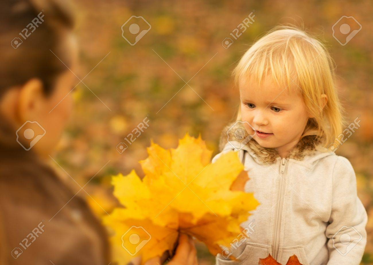 Mother showing baby fallen leaves Stock Photo - 16030793