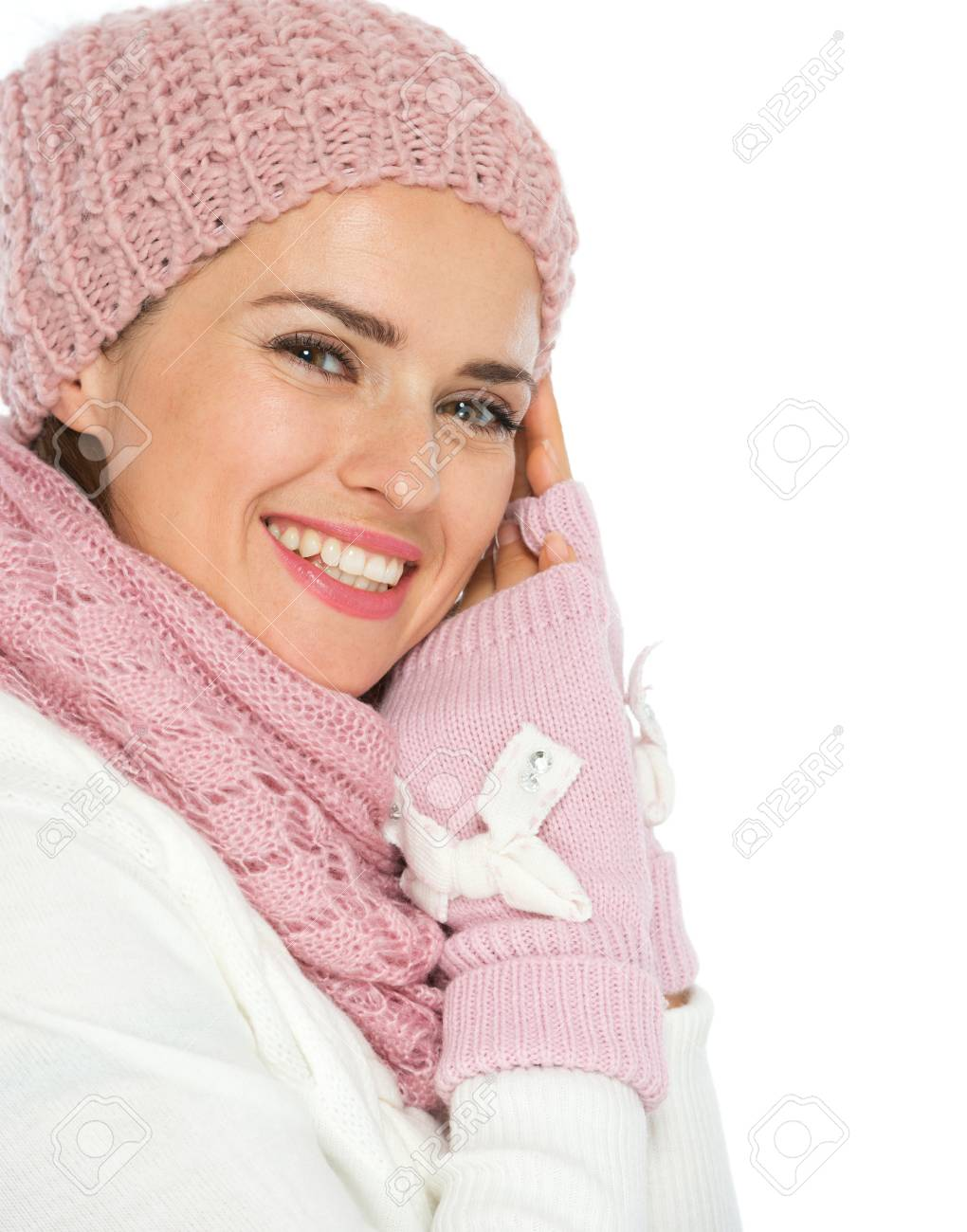 Portrait of smiling young woman in knit winter clothes Stock Photo - 16467236