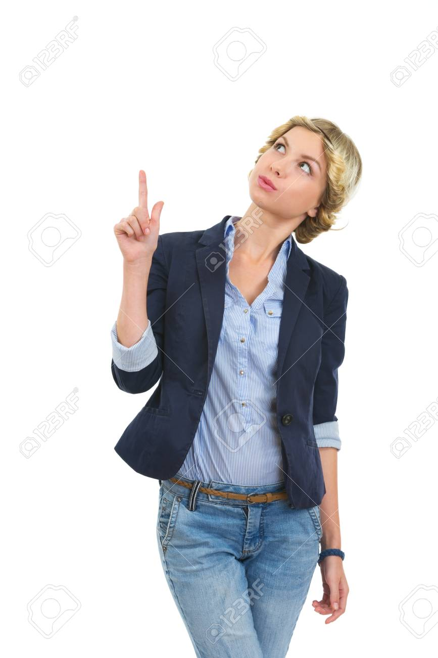 Smiling girl pointing up on copy space Stock Photo - 16515847