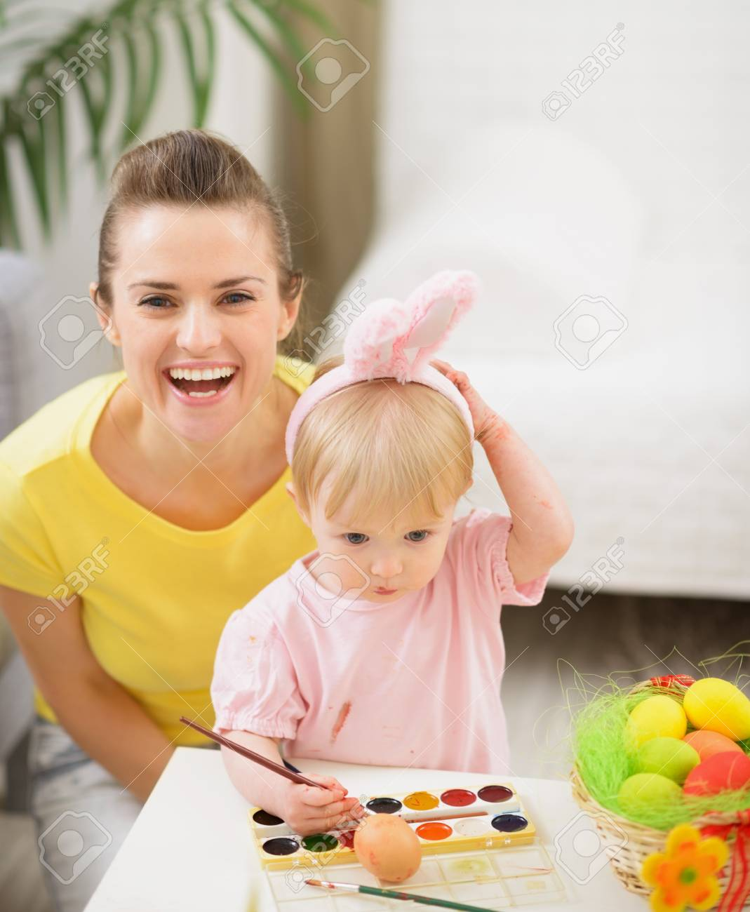 Baby and mother having fun on Easter Stock Photo - 17304846