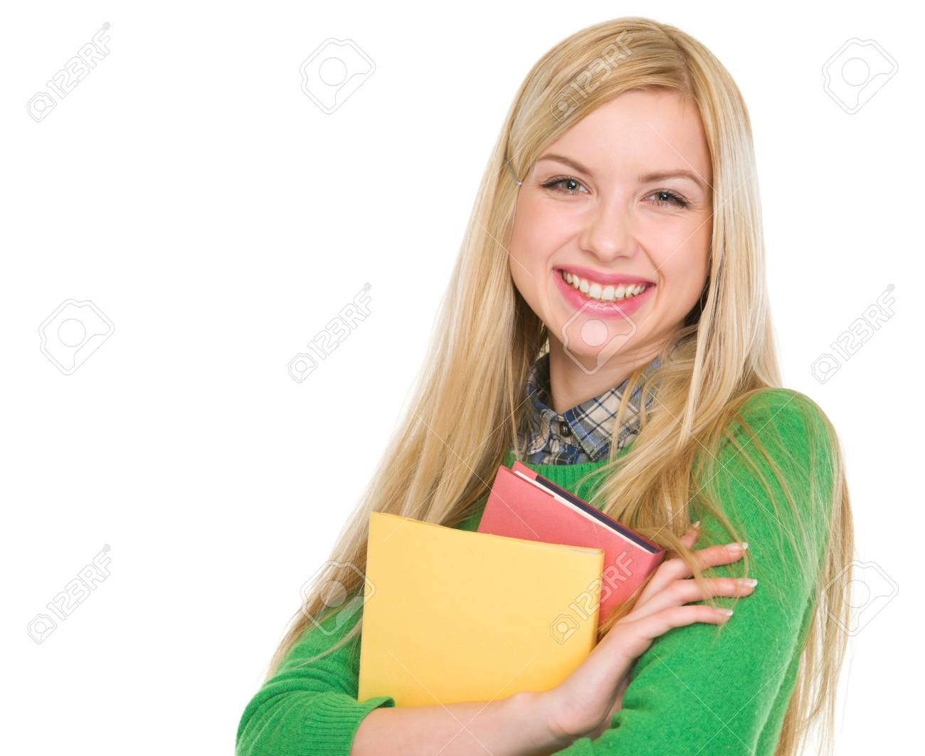 Portrait of smiling student girl with books Stock Photo - 17418438