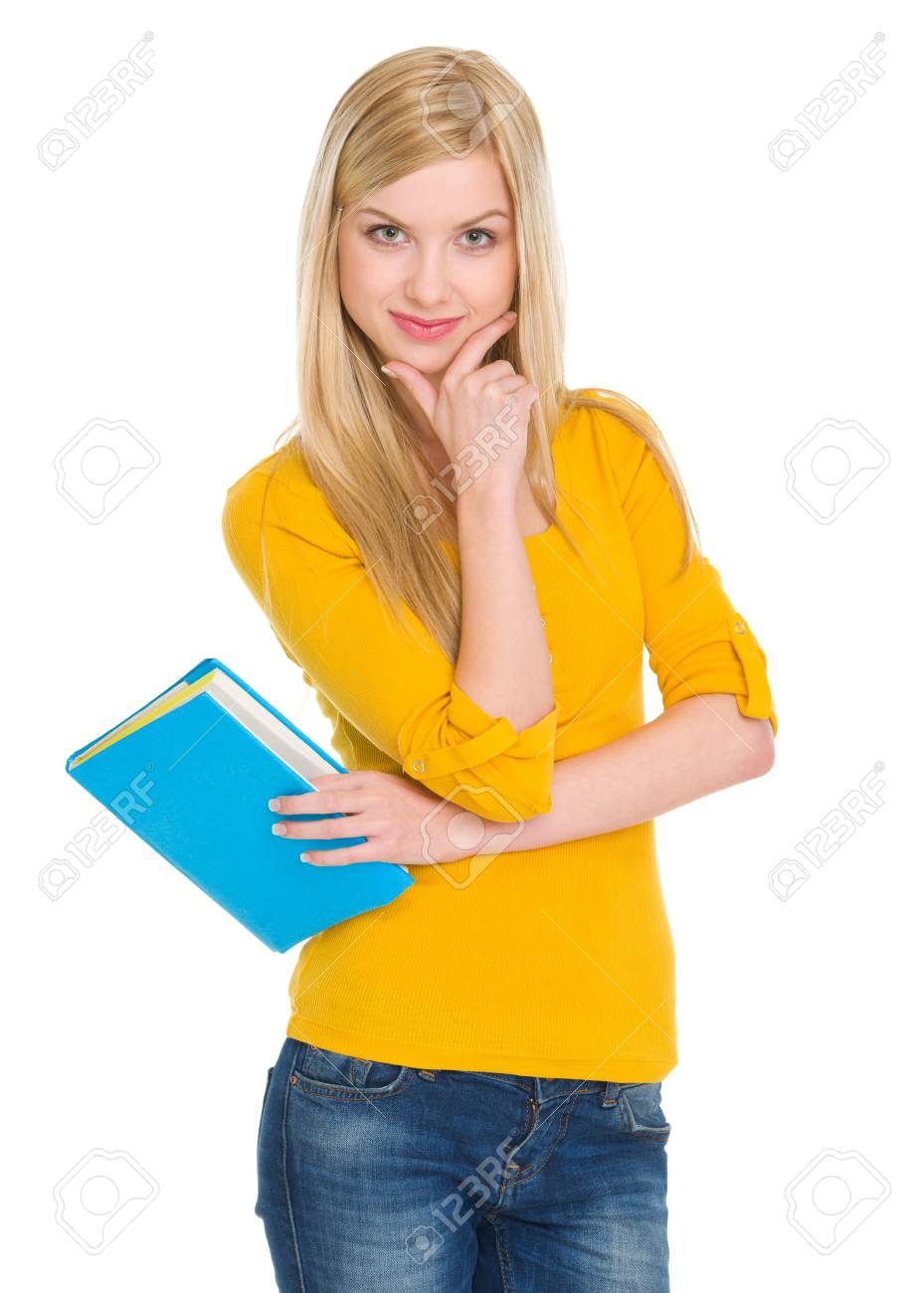 Portrait of happy student girl with book Stock Photo - 17418518
