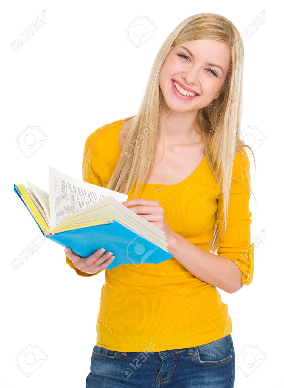 Portrait of smiling student girl with book Stock Photo - 17418511