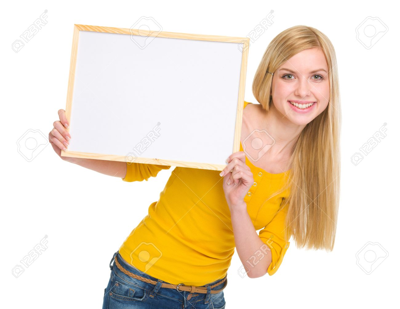 Happy student girl showing blank board Stock Photo - 17417834