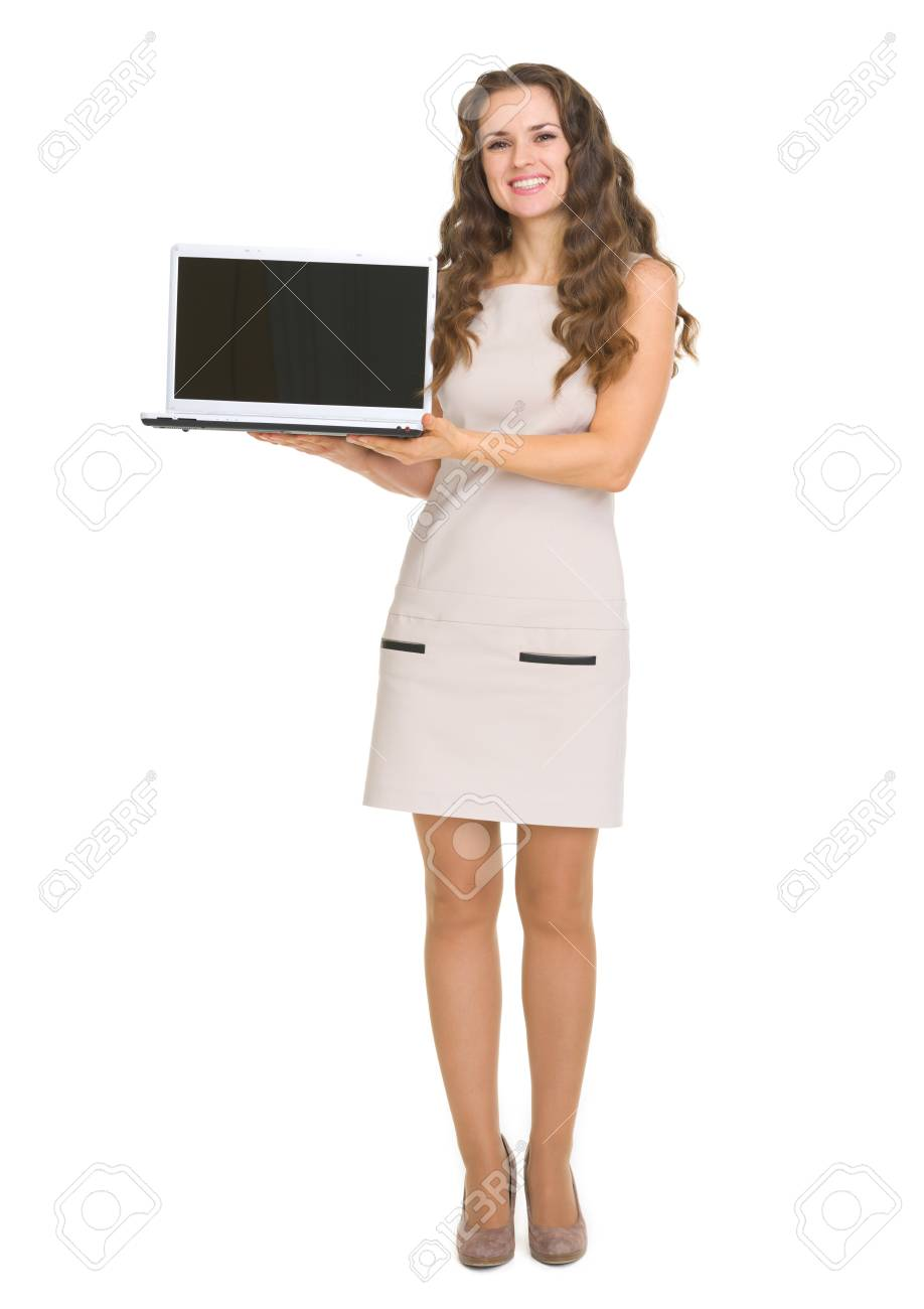 Happy young woman showing laptop Stock Photo - 17890533