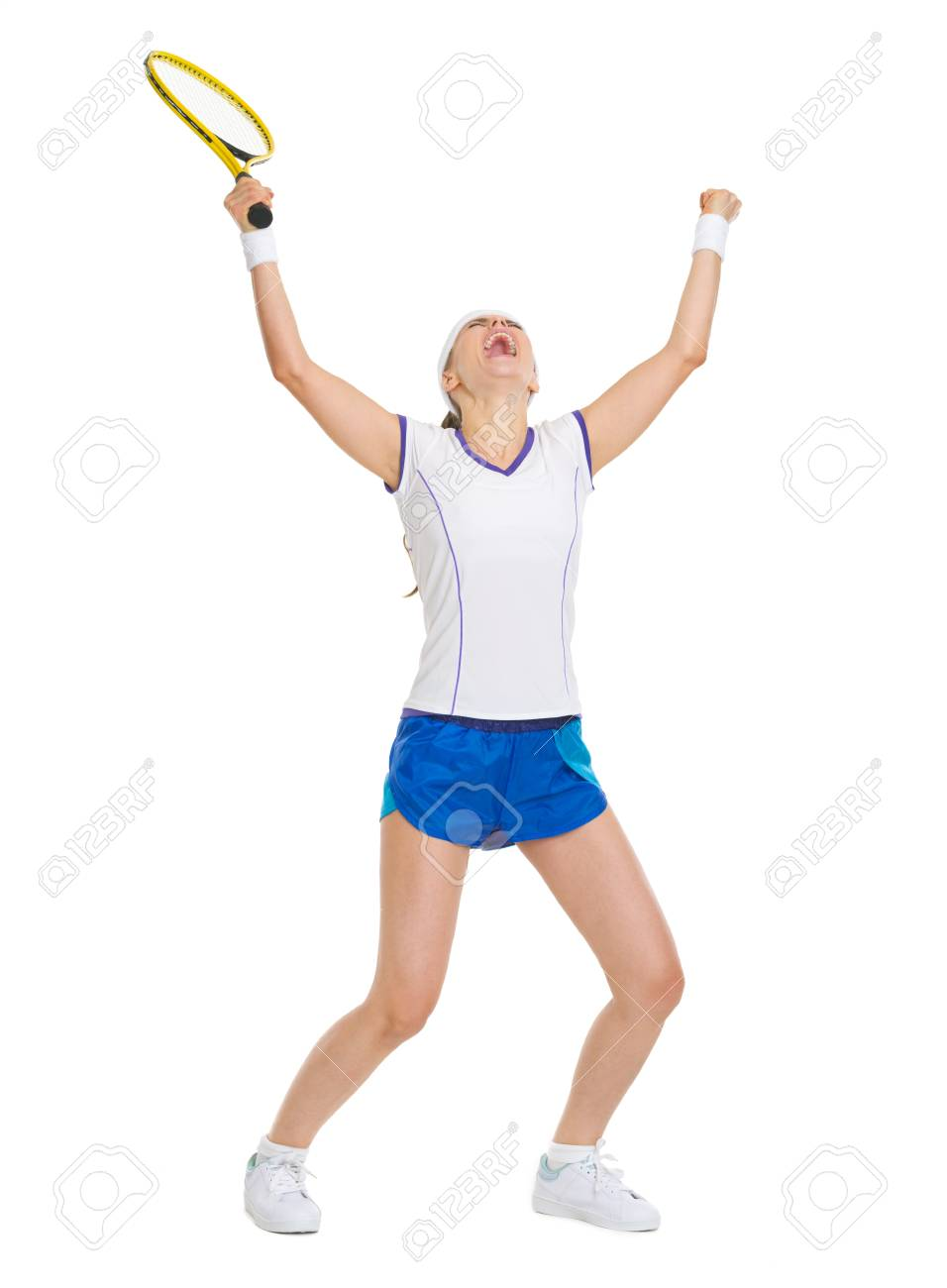 Full length portrait of happy tennis player rejoicing in success Stock Photo - 18059381