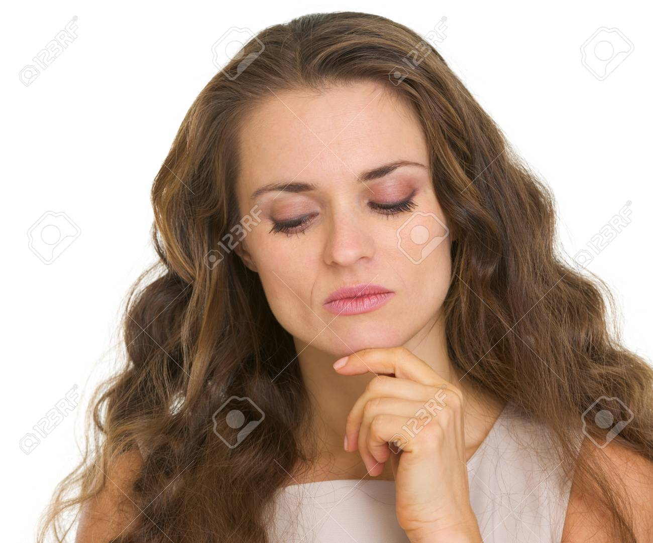 Portrait of thoughtful young woman looking down Stock Photo - 18788079
