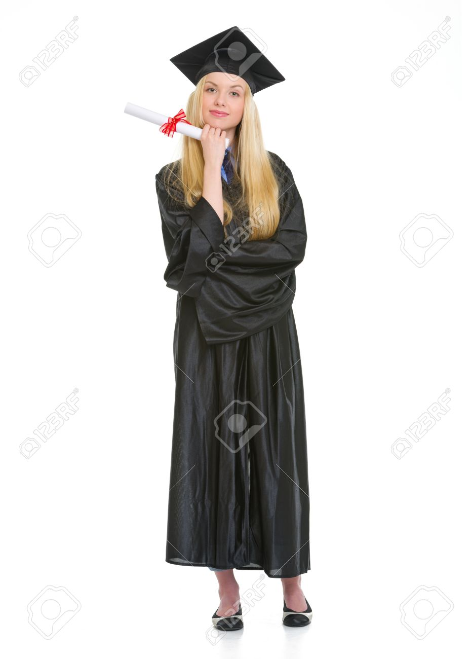 Full Length Portrait Of Young Woman In Graduation Gown With ...
