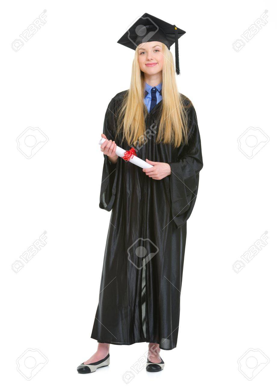 Full Length Portrait Of Happy Young Woman In Graduation Gown.. Stock ...