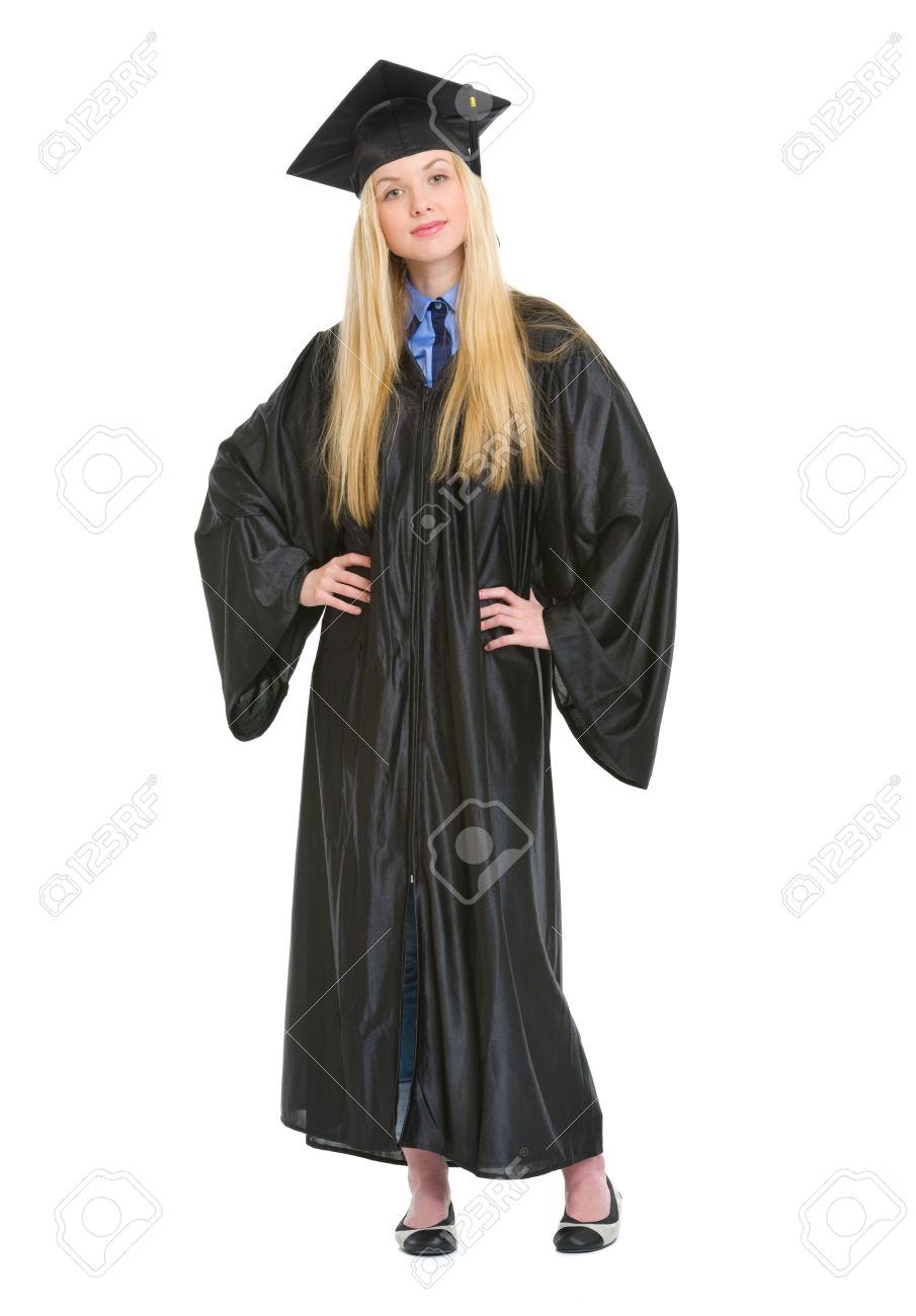 Full Length Portrait Of Happy Young Woman In Graduation Gown Stock ...