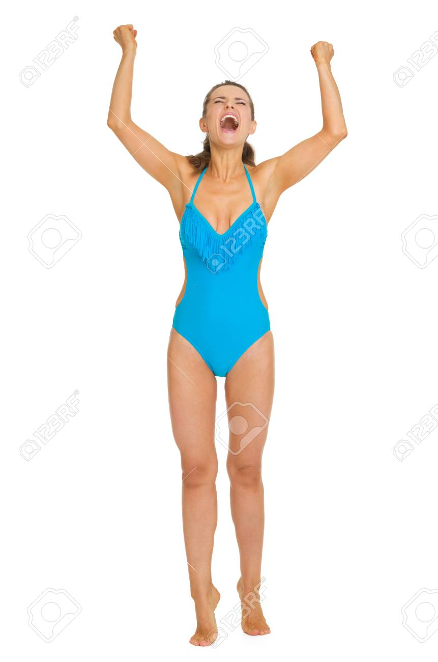 Full length portrait of happy young woman in swimsuit rejoicing Stock Photo - 20542789