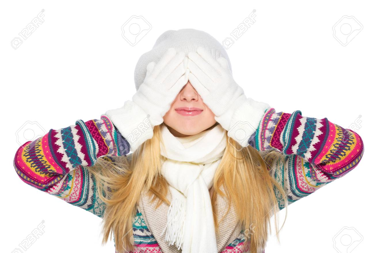 Happy young woman in winter clothes closing eyes Stock Photo - 21352268