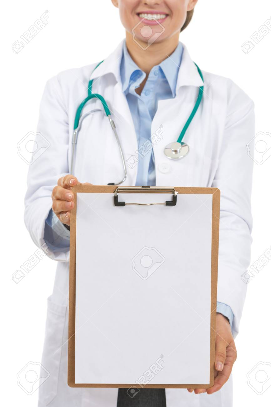 Closeup on doctor woman showing blank clipboard Stock Photo - 21567989