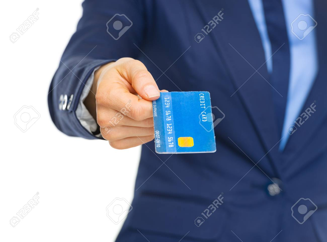 Closeup on business woman giving credit card Stock Photo - 22665272