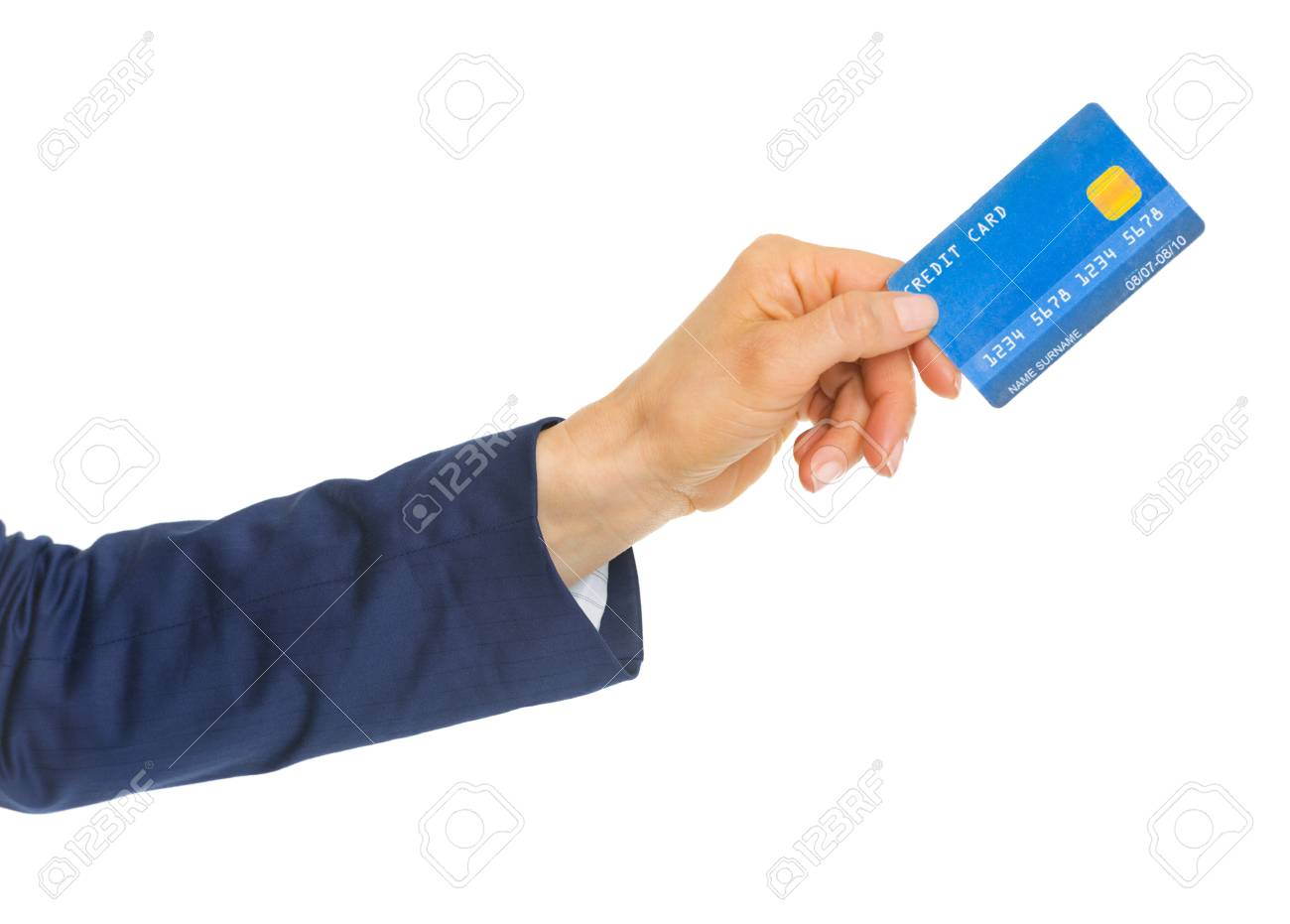 Closeup on hand of business woman giving credit card Stock Photo - 22665276