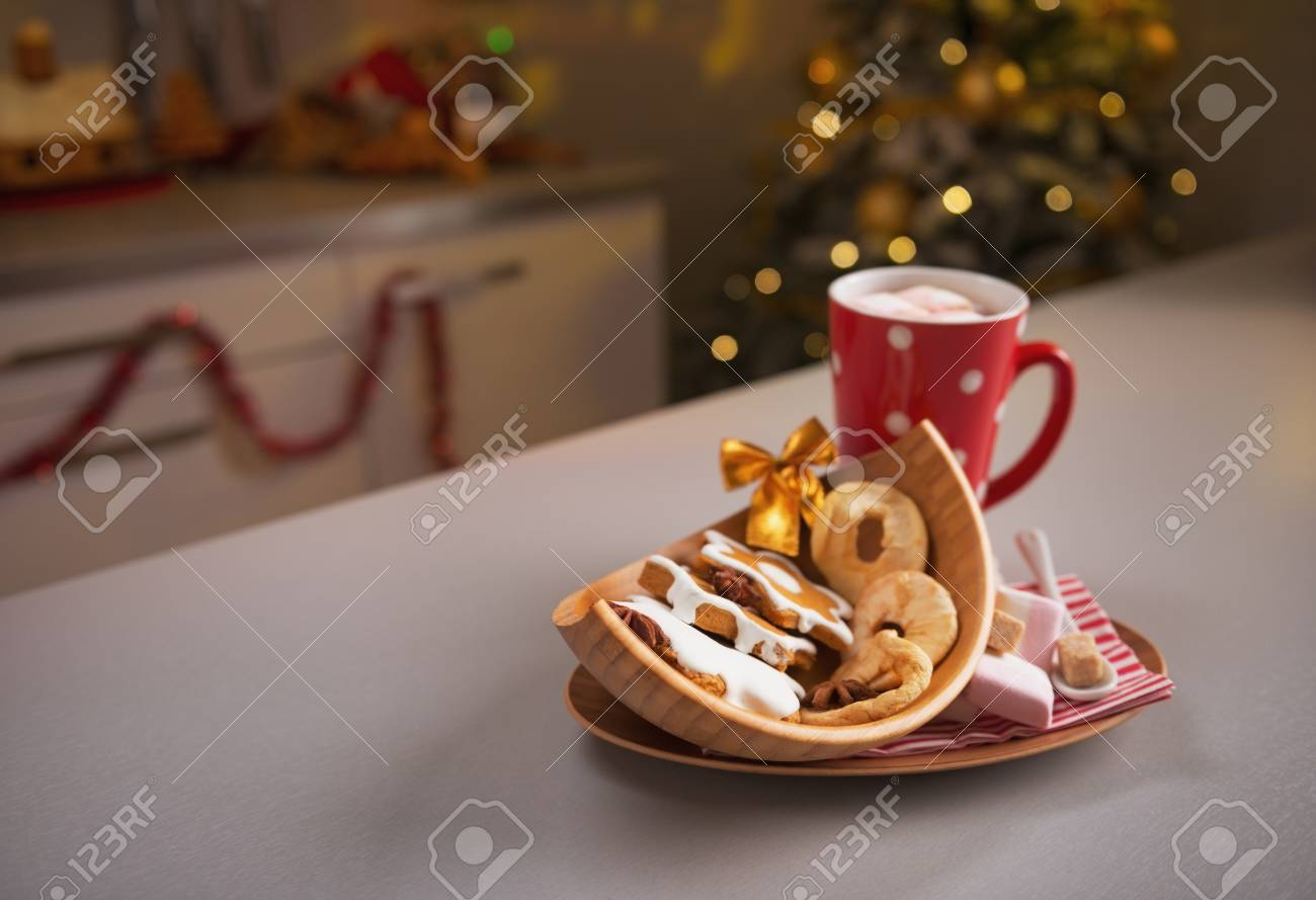 Closeup on christmas snack on kitchen table Stock Photo - 23533214