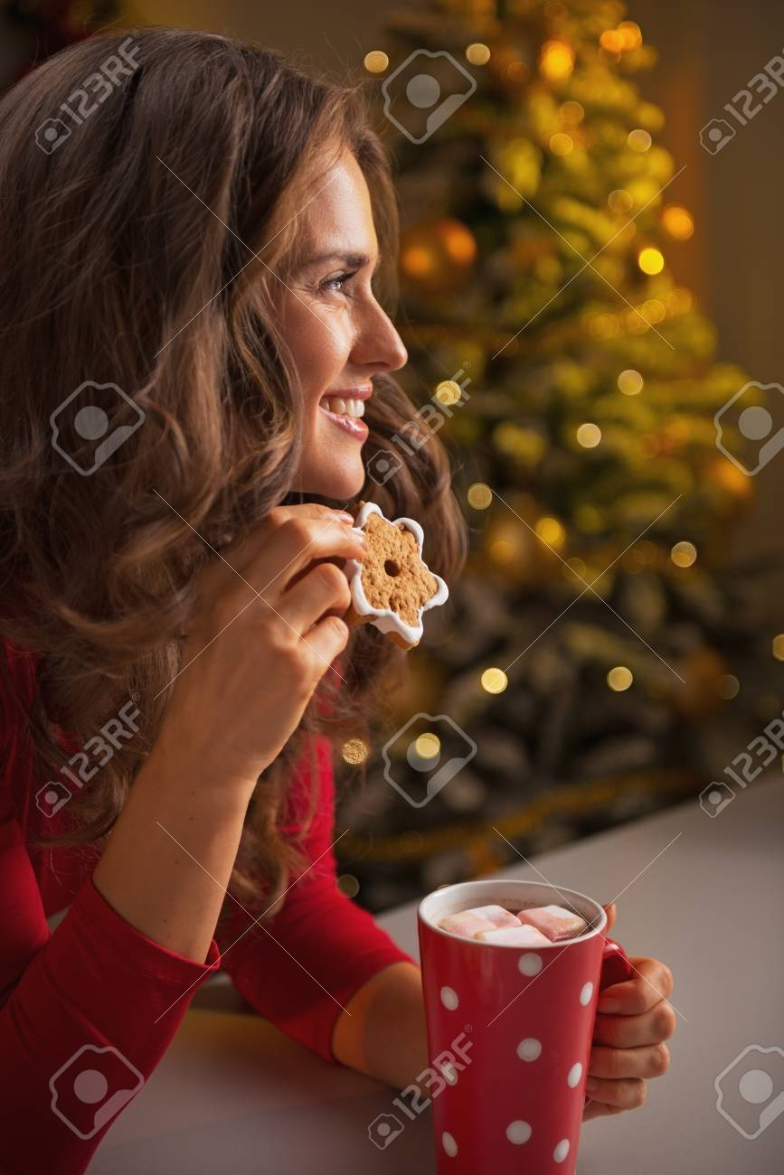 Happy young woman with christmas cookie and cup of hot chocolate Stock Photo - 23533217