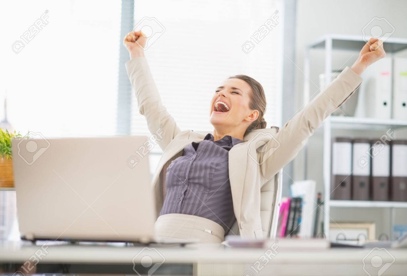 Portrait Of Happy Business Woman In Office Rejoicing Success Stock Photo Picture And Royalty Free Image Image 26332980