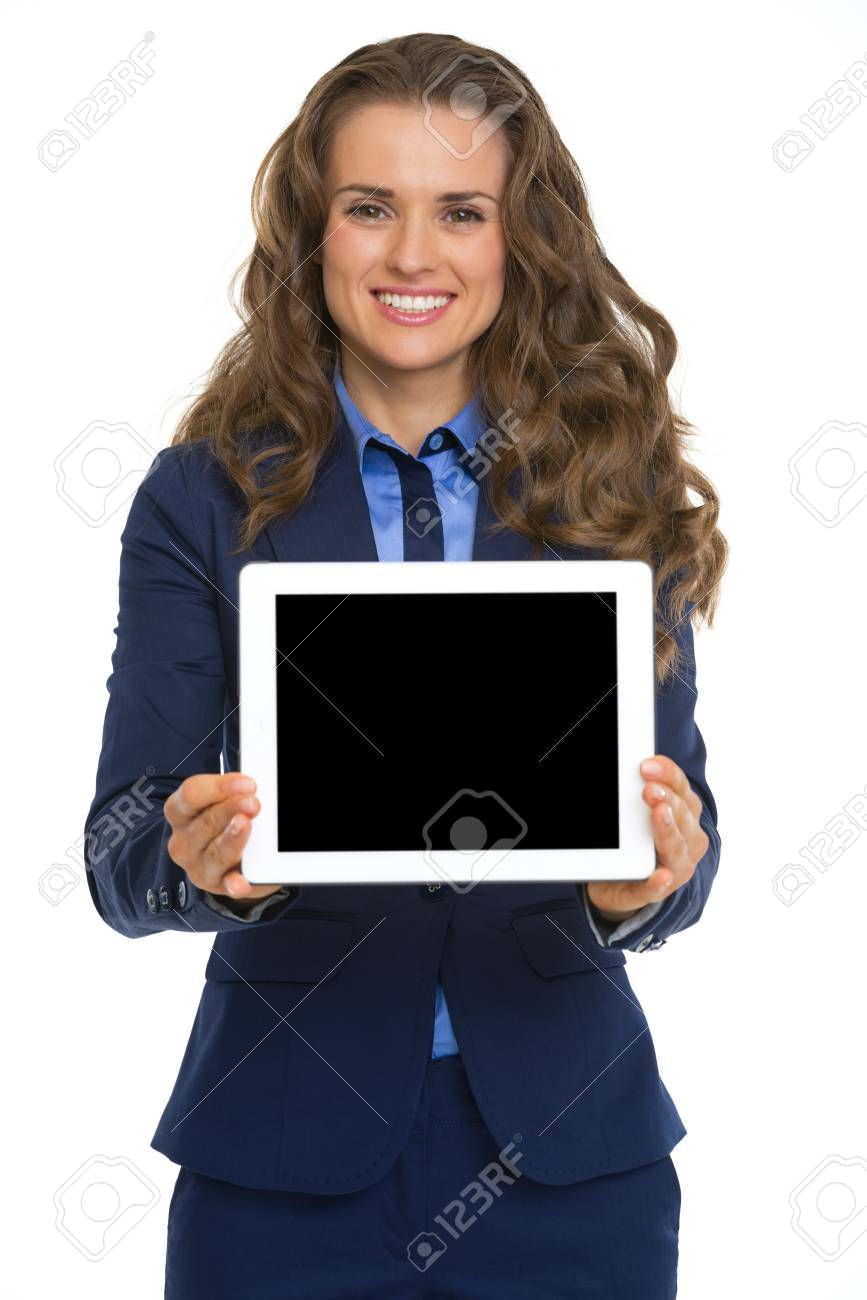 Smiling business woman showing tablet pc blank screen Stock Photo - 26977286
