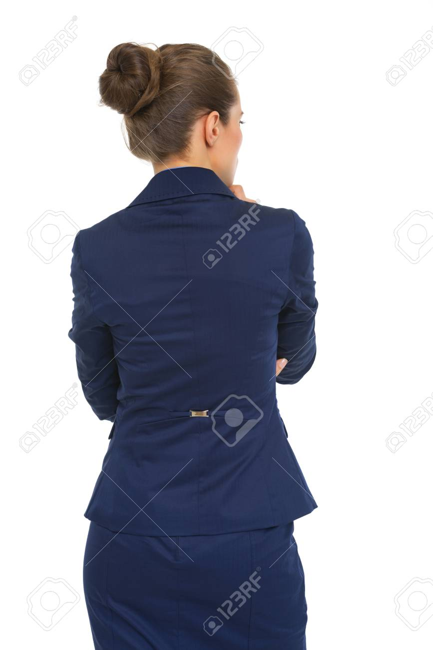 Thoughtful business woman. rear view Stock Photo - 28062545