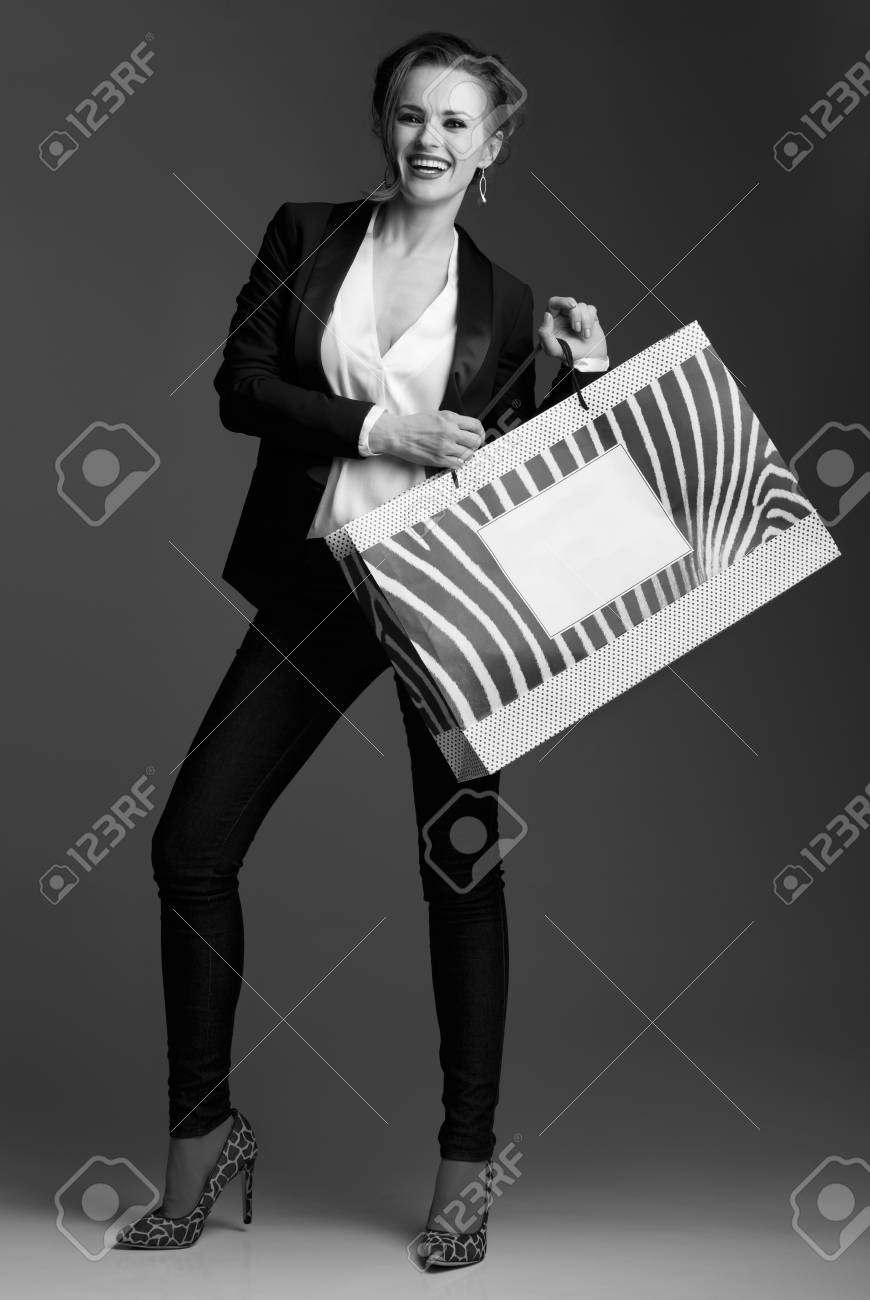 Contemporary Shopping In Black And White Aesthetic Full Length