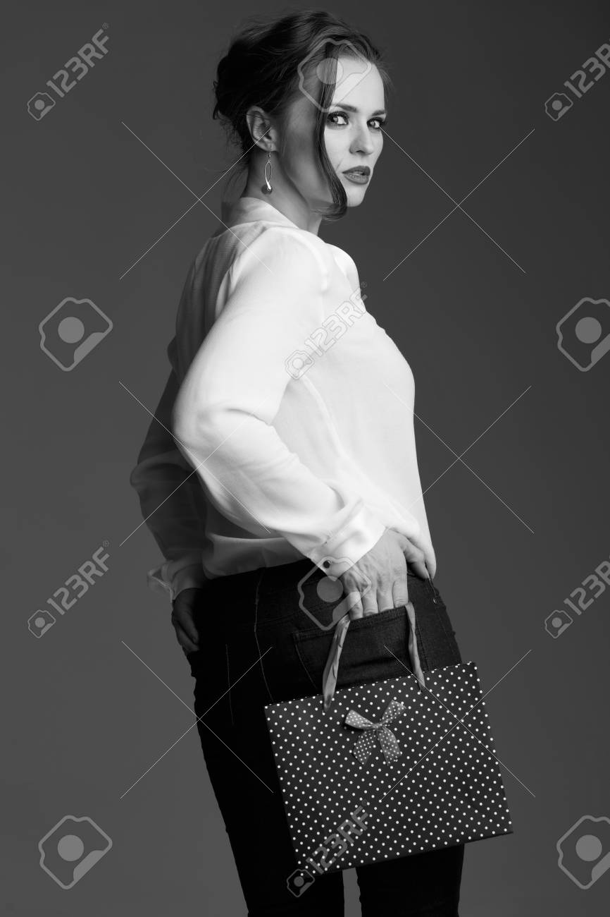 Contemporary Shopping In Black And White Aesthetic Portrait Stock