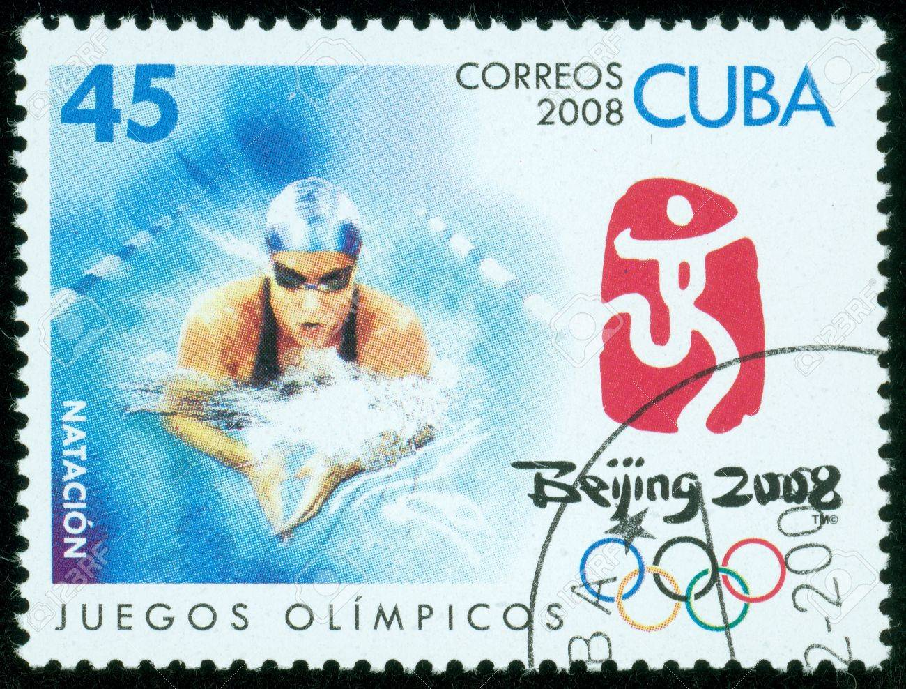 CUBA - CIRCA 2008  stamp printed by CUBA, shows Olympic games swimming Beijing 2008 , circa 2008 Stock Photo - 13760899