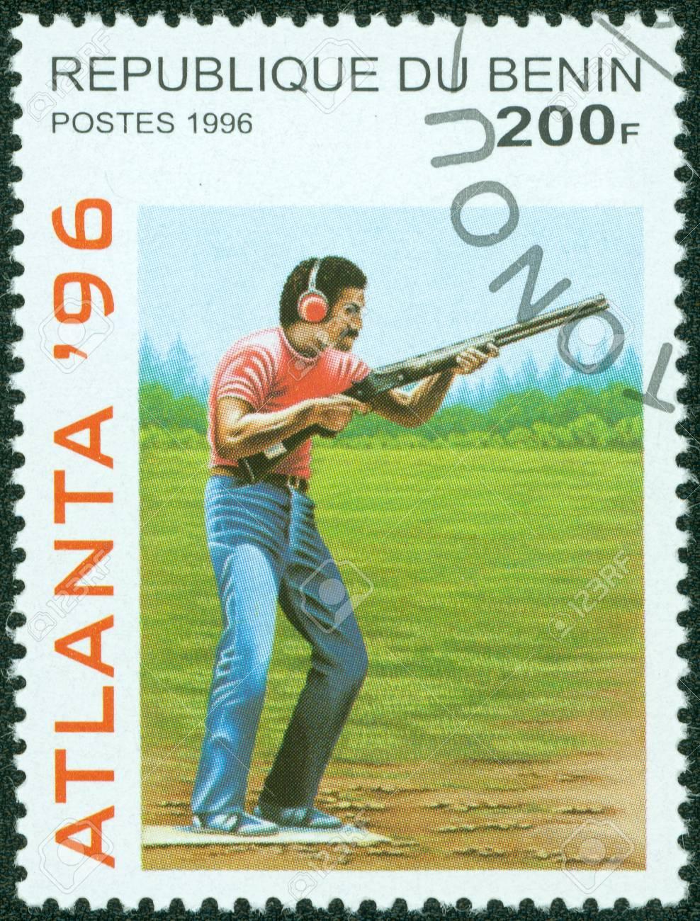 BENIN - CIRCA 1996  stamp printed by Benin, shows athlete Skeet shooting , circa 1996 Stock Photo - 13975837