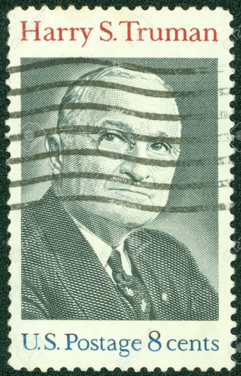 USA - CIRCA 1973   A stamp printed in USA shows Harry S Truman Portrait, circa 1973 Stock Photo - 14242632