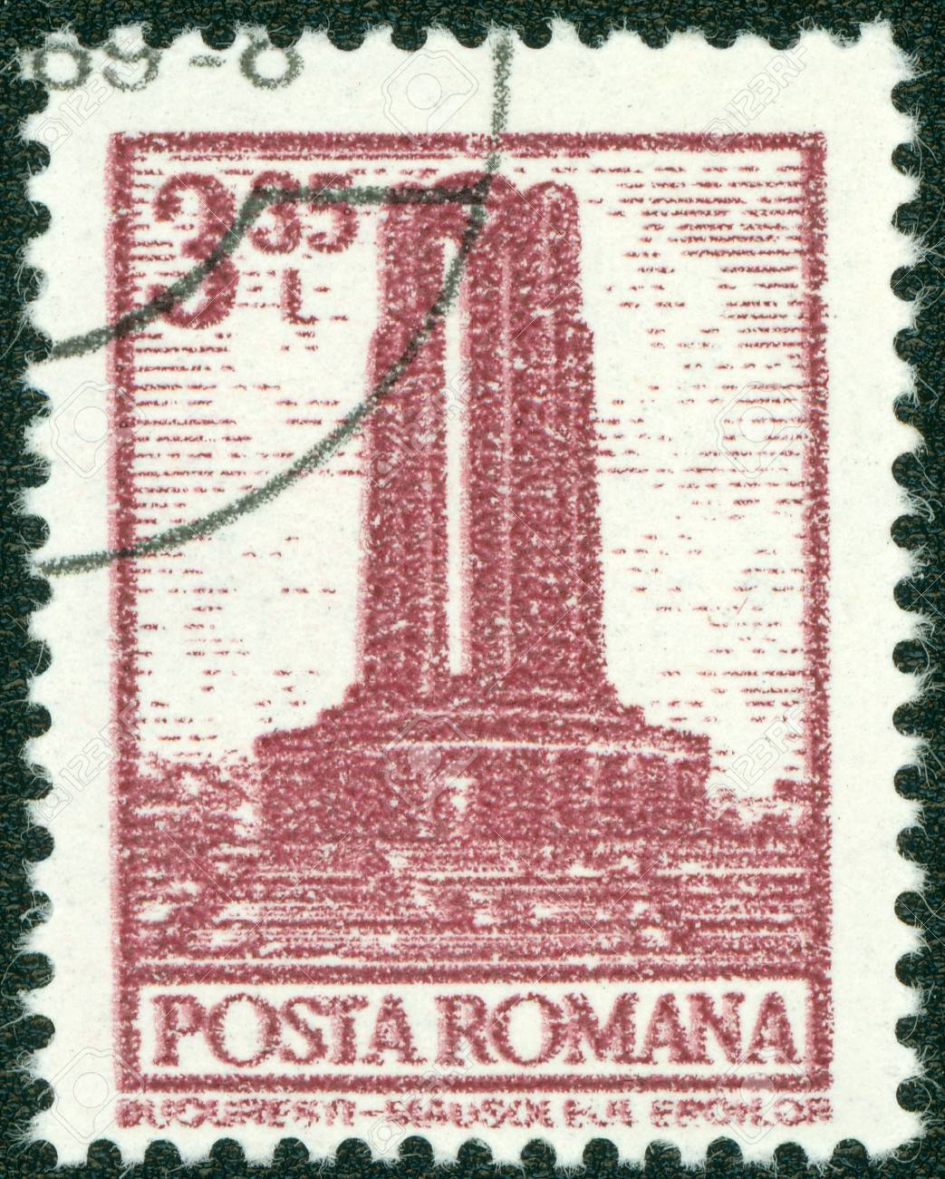 ROMANIA - CIRCA 1972  A stamp printed in Romania from the  Definitives I - Buildings  shows Heroes Monument, Bucharest, circa 1972 Stock Photo - 14830258