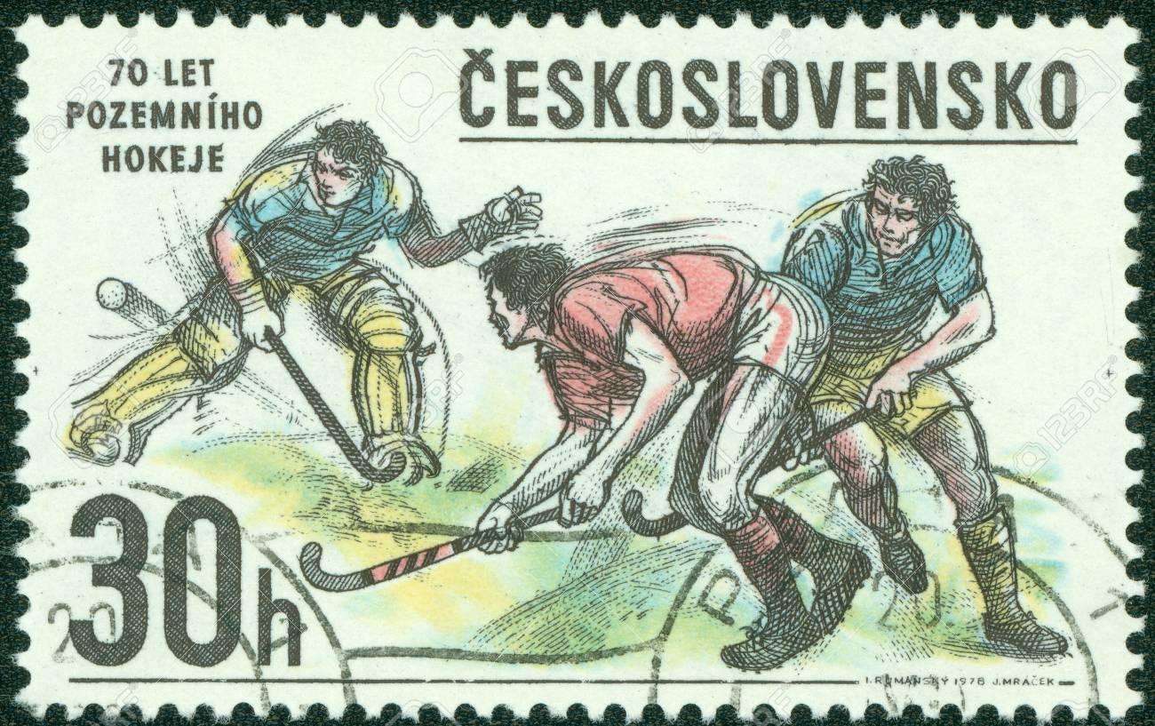CZECHOSLOVAKIA - CIRCA 1978  A Stamp printed in Czechoslovakia shows image of Hockey, circa 1978 Stock Photo - 15175864