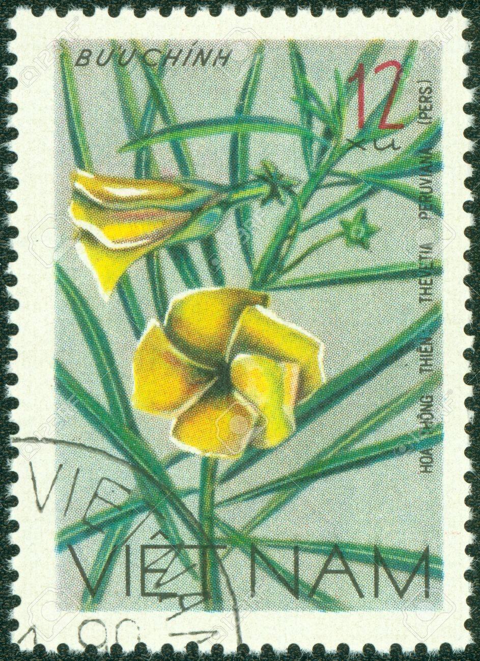 VIETNAM - CIRCA 1978  A stamp printed in Vietnam shows Nerium oleander - Thevetia Peruviana, series, circa 1978 Stock Photo - 15294933