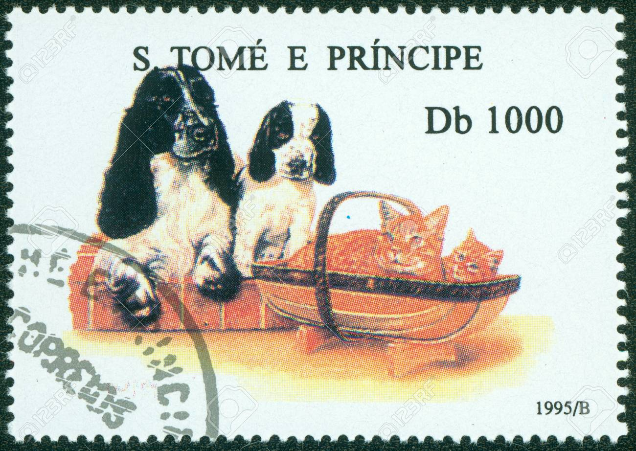 S  TOME E PRINCIPE - CIRCA 1995  A stamp printed in S  Tome e Principe showing Cockerspaniel, circa 1995 Stock Photo - 15854950