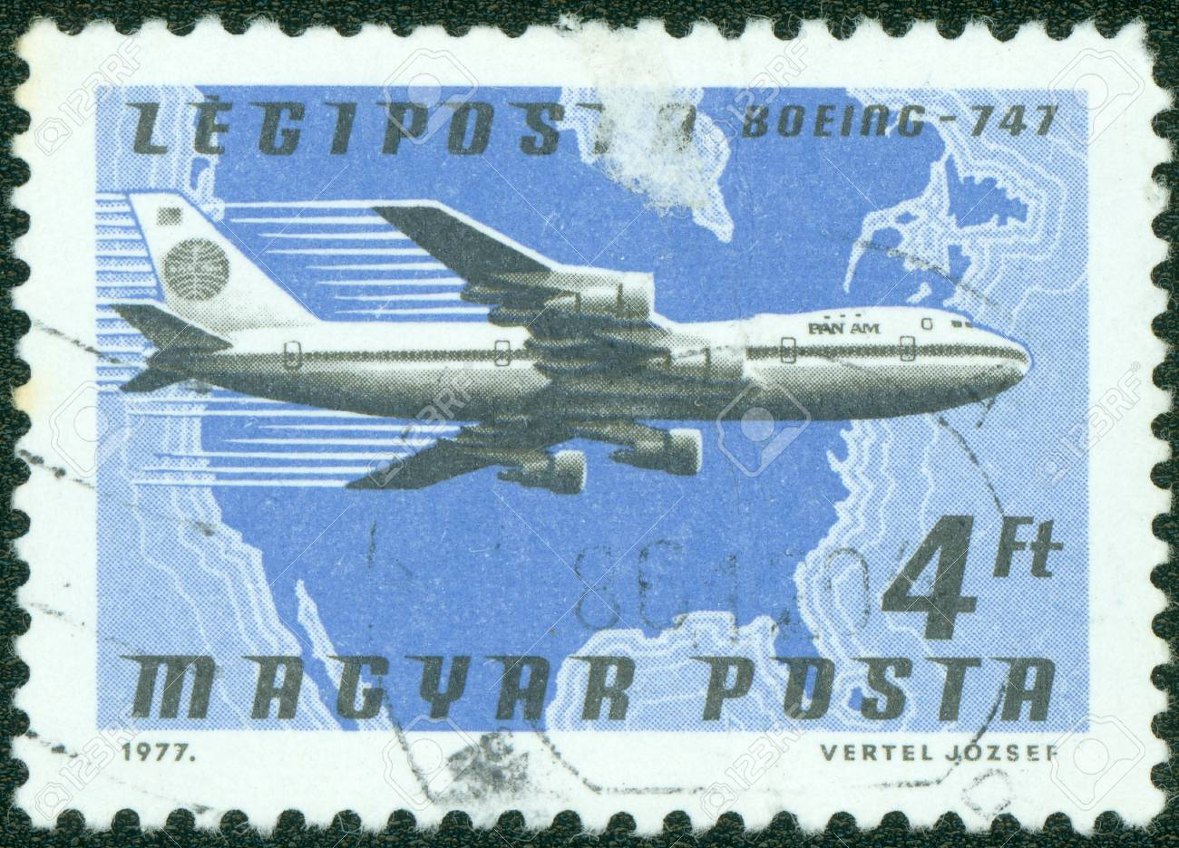 HUNGARY - CIRCA 1977  A stamp printed in Hungary shows Boeing 747, circa 1977 Stock Photo - 16043008