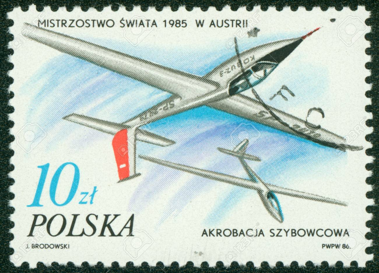 REPUBLIC OF POLAND - CIRCA 1986  a stamp printed by Republic of Poland, shows white airplanes in the sky, circa 1986 Stock Photo - 16233147