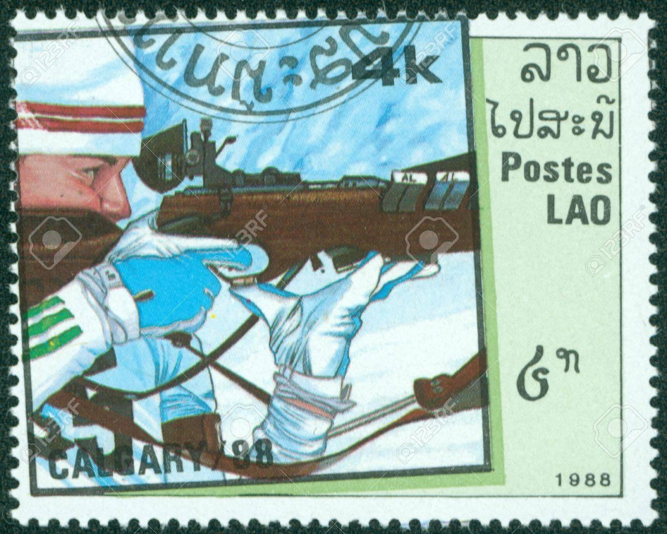 LAOS - CIRCA 1988  stamp printed by Laos, shows biathlon, circa 1988  Stock Photo - 16372594