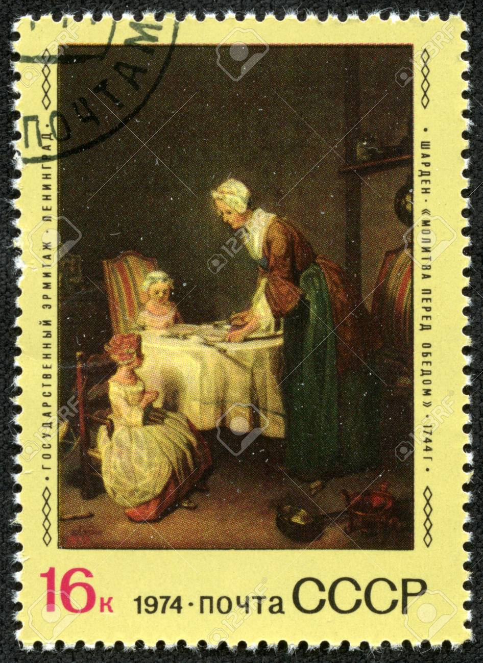 USSR - CIRCA 1974  Stamp printed in USSR, shows Chardin  prayer before dinner,  1744, State Hermitage Museum, St  Petersburg, circa 1974 Stock Photo - 17261666