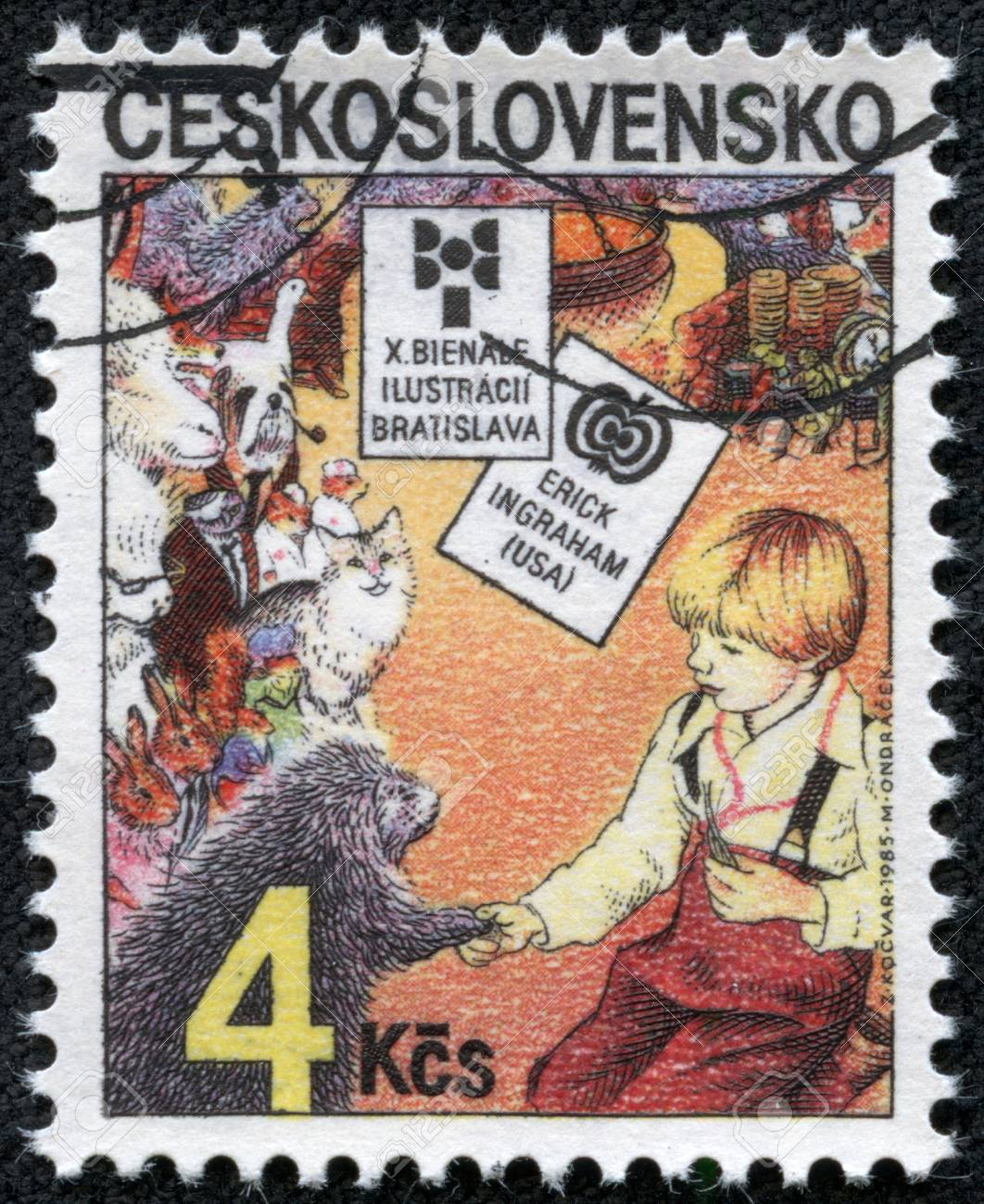 CZECHOSLOVAKIA - CIRCA 1985  The stamp printed in Czechoslovakia shows a child and beasts, circa 1985 Stock Photo - 17249468