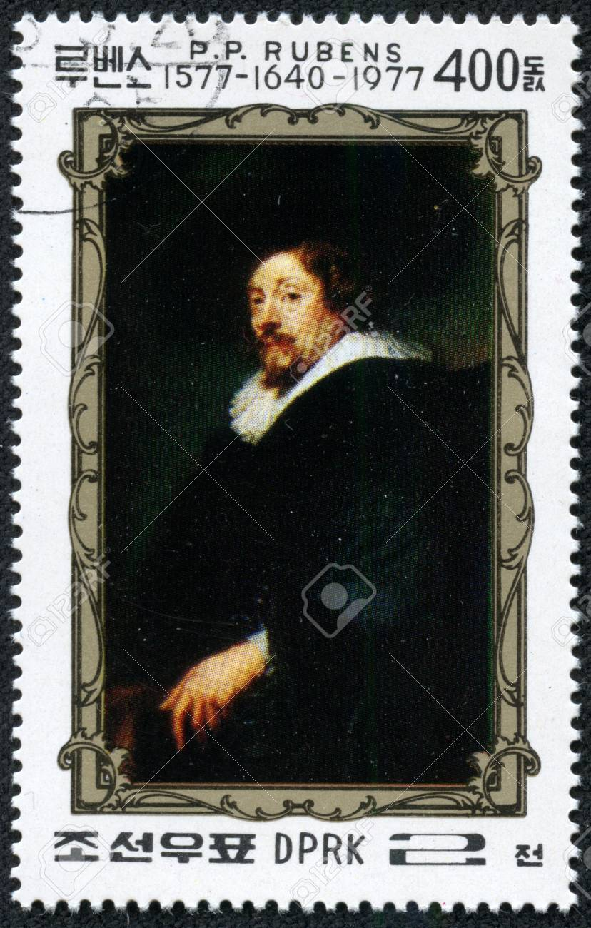 NORTH KOREA - CIRCA 1977  A stamp printed in North Korea, is dedicated to the 400th anniversary of Peter Paul Rubens, self-portrait, circa 1977 Stock Photo - 17297956