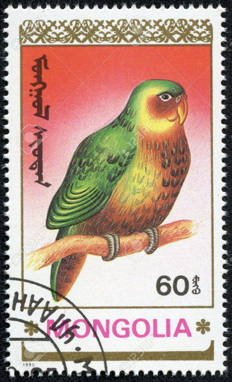 MONGOLIA - CIRCA 1990  A postage stamp printed in Mongolia shows birds-parrot, series animals, circa 1990 Stock Photo - 17455609