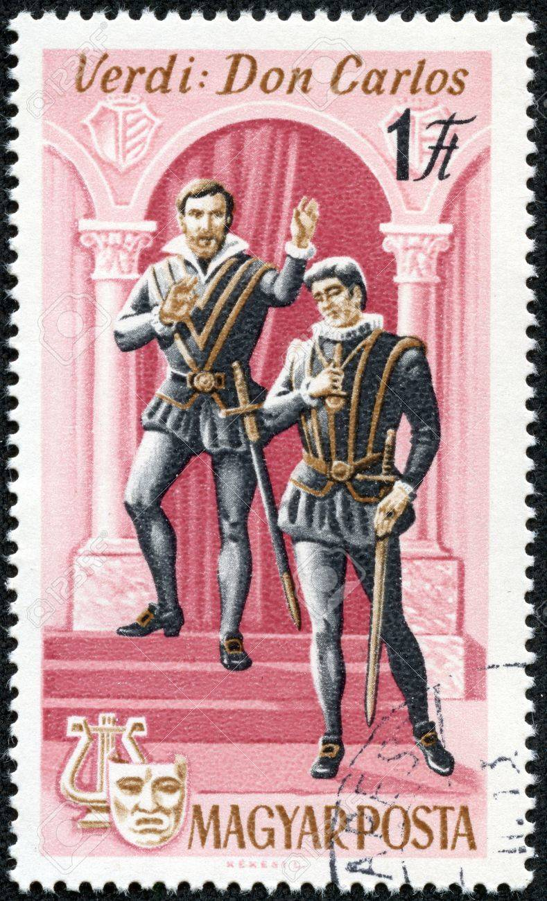 HUNGARY - CIRCA 1967  stamp printed by Hungary, shows Scene from Don Carlos opera by Giuseppe Verdi, circa 1967 Stock Photo - 17554693