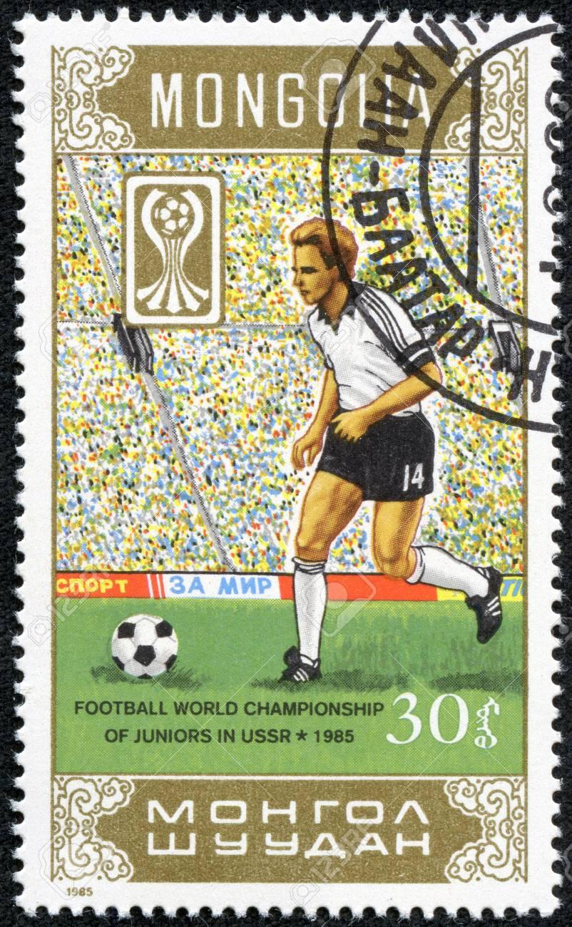 MONGOLIA - CIRCA 1985  Football world championship of juniors in USSR 1985, circa 1985  Stock Photo - 17614965