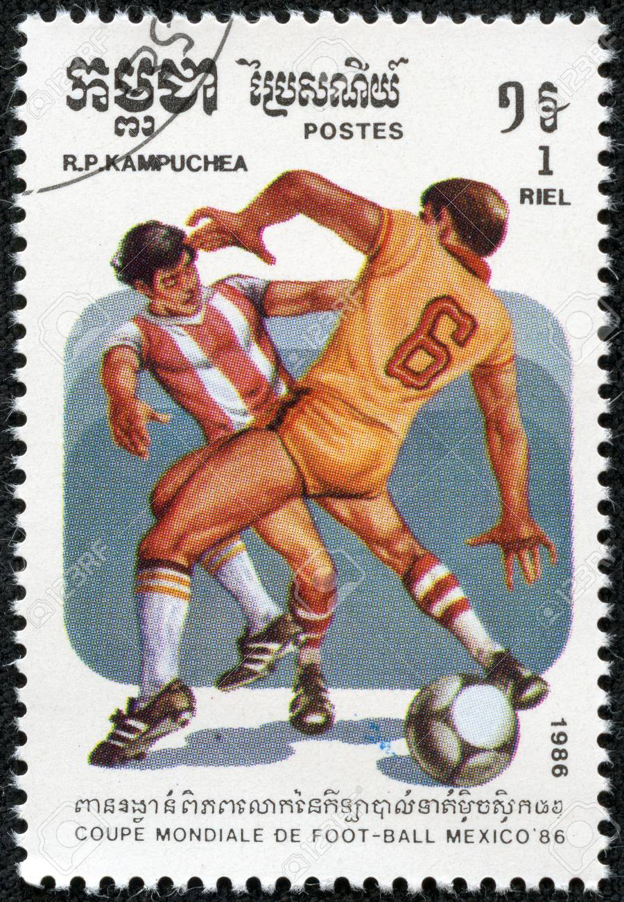 CAMBODIA - CIRCA 1986 stamp printed by Cambodia, shows 1986 World Cup Soccer Championships Mexico, circa 1986  Stock Photo - 17614957
